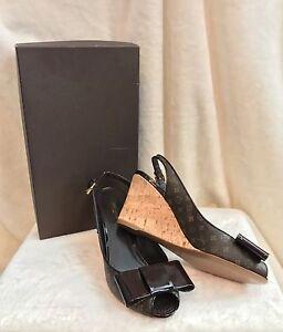 c9999d853bcd New Louis Vuitton Monogram Brown Patent Leather Wedge Sandals Shoes ...