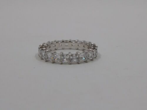 platine Clad Diamonique Princess Cut Eternity Band Ring