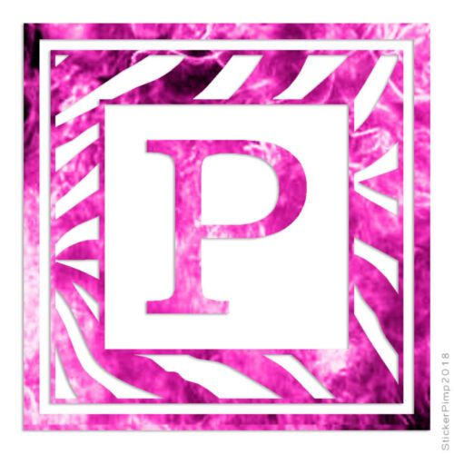 Size #3304 Zebra Font P Initial Decal Sticker Choose Pattern