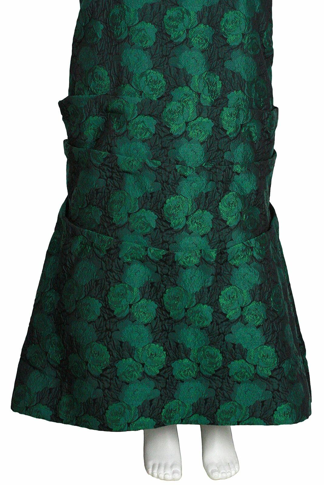 ARNOLD SCAASI 1980s Dark Green Floral Brocade Gow… - image 8