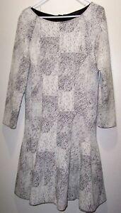 Banana Republic Drop Waist Dress Sz 16 Tall Black/White Textured Exposed Zipper