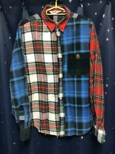 A-BATHING-APE-BAPE-Crazy-Pattern-Checked-Plaid-Shirt-Size-XL-Made-in-Japan-Rare