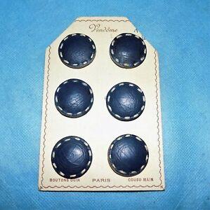 6-boutons-anciens-de-1960-VENDOME-PARIS-en-cuir-bleu-cousu-main-3-cm