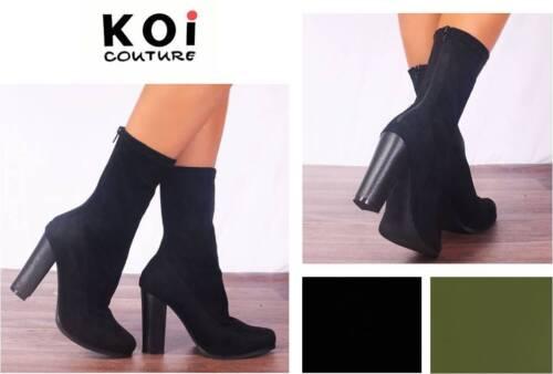 Koi Couture Liss D4-1 Bottines à Talon Extensible Microfibre daim RRP £ 45 Choisissez K