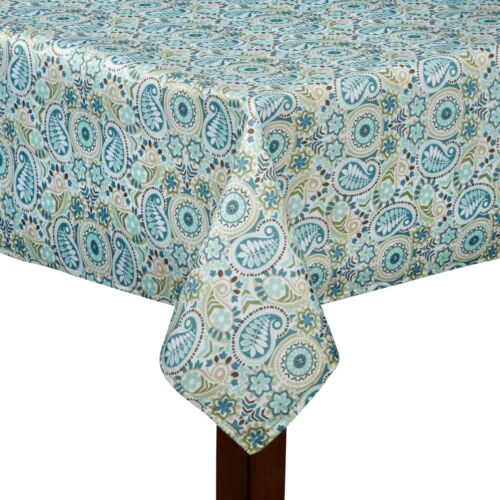 Sz Traditions by Waverly Fabric Tablecloth Aqua Teal Printed Paisley Prism Asst