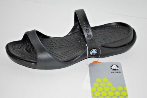 NWT NEW CROCS CLEO BLACK sandals slides shoe 6 7 8 9 10