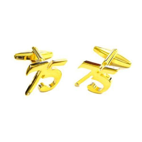 Gold Plated SEVENTY FIVE 75 Cufflinks Age 75TH Birthday Formal Present Gift Box
