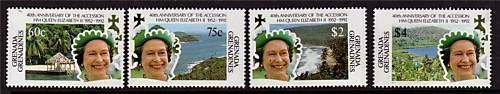 Grenada Gren 1992 QE11 40th Anniv Access. SG1469/72 MNH