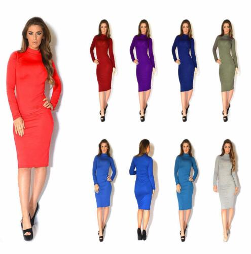 BZ Women Ladies Long Sleeve Polo High Neck Midi Bodycon Tunic Dress Plus sizes