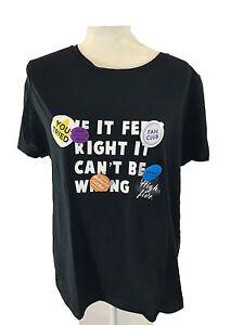 ZARA-Women-039-s-T-shirt-Text-Printed-80-039-s-Style-badges-Black-XL