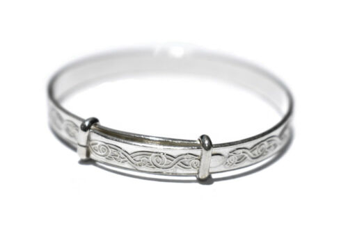 Baby's Bangle Solid Silver Celtic Design Baby's Small Adjustable Bracelet