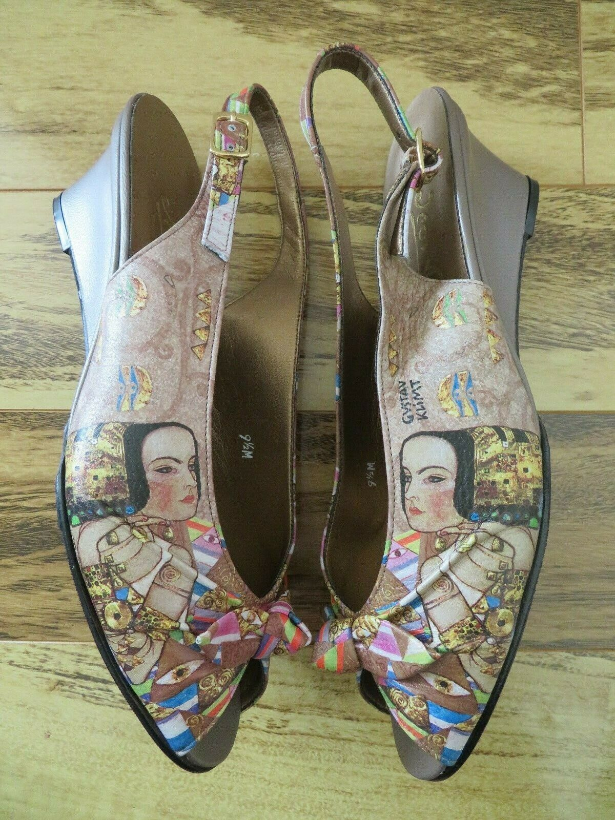 New Boxed ICON Lena Expectations Sling Back Wedge shoes Peep Toes 9.5 M Klimt