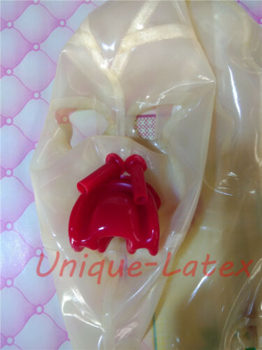 231 TRANSPARENT Latex MASK with Red Mouth Red NOSE tube