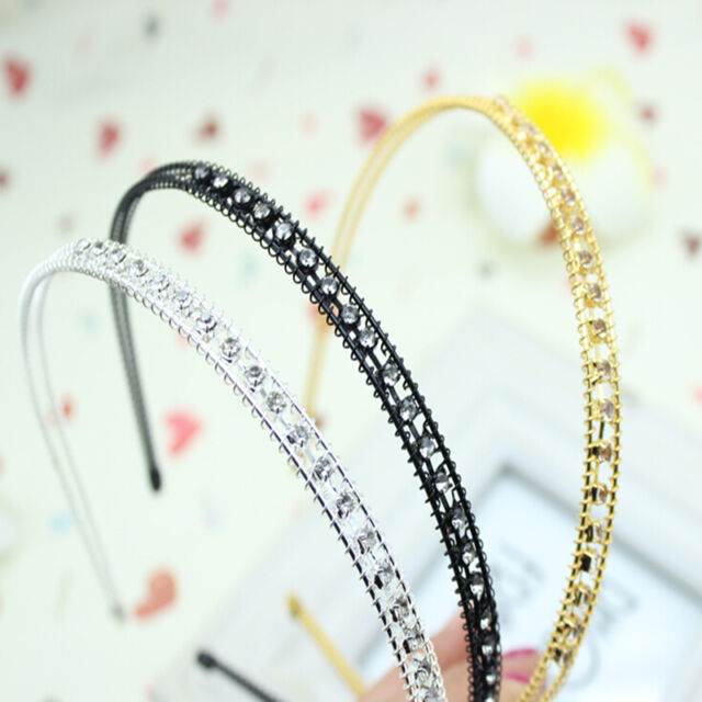 Silver Black/Gold/Cute Women's Metal Crystal Headband Head Piece Hair Band New