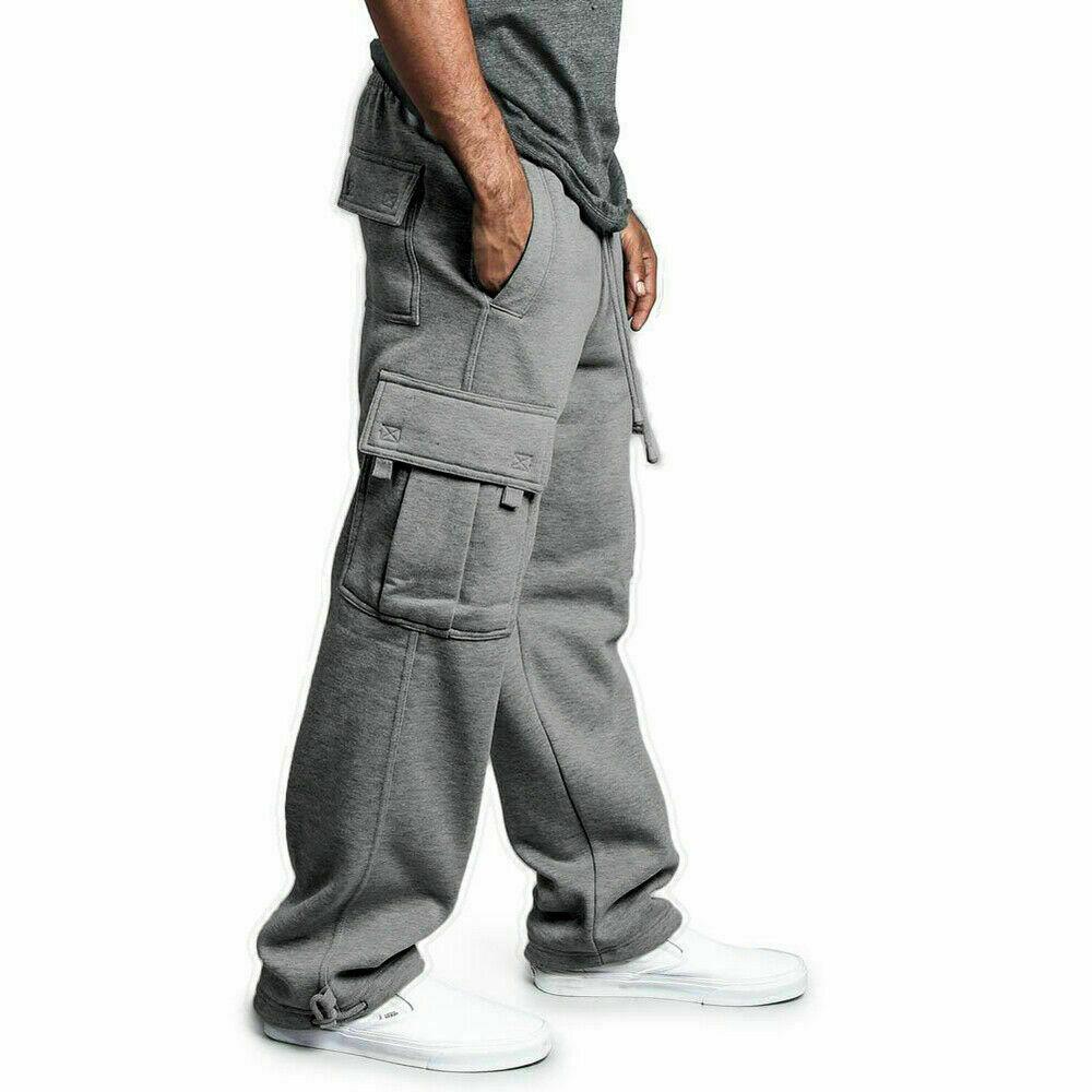 G-Style USA Mens Solid Fleece Heavyweight Cargo Pants