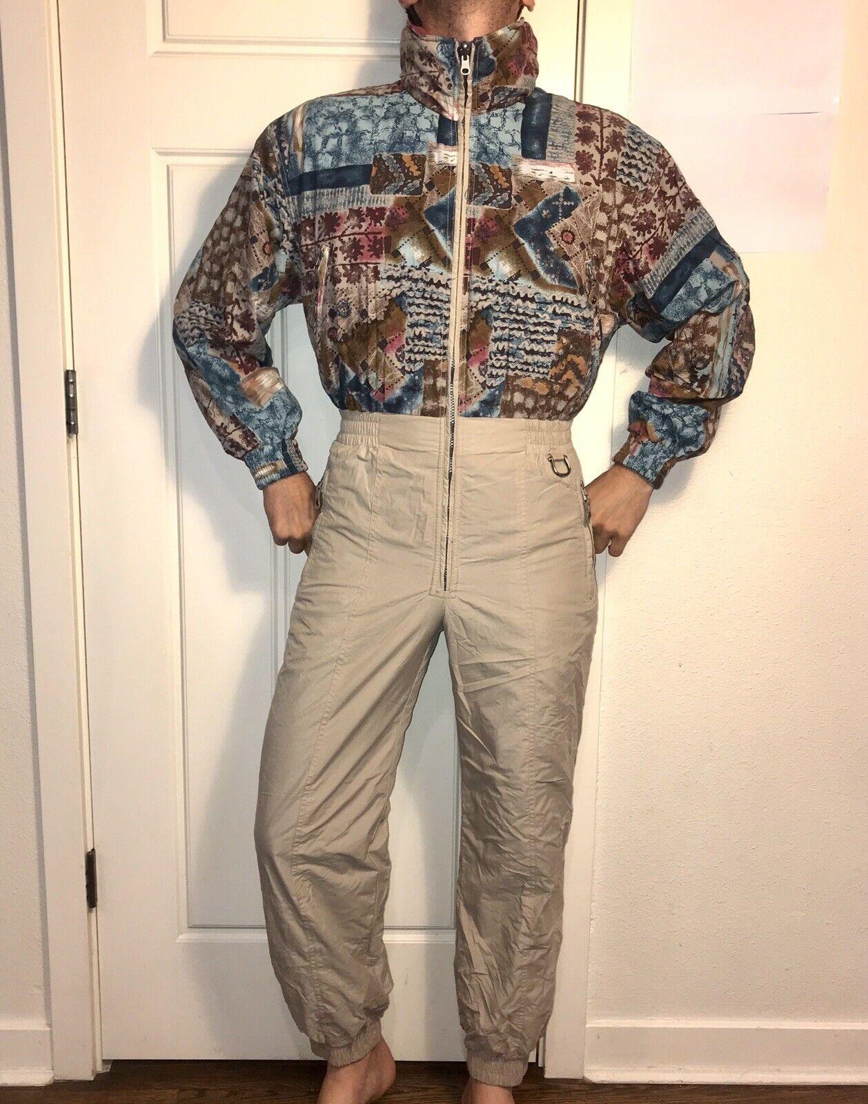 Vtg 80s REVERSIBLE daSie 6 EDELWEISS One piece SKI SUIT Snow Bib Snowsuit Retro