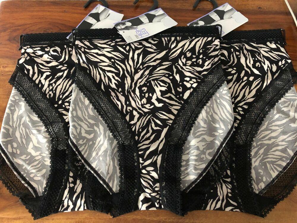 * Nouveau * 3 Paires De M&s Noir & Imprimé Zèbre Blanc High Leg Slips Tailles 14 16 18
