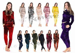 New Womens Crush Velvet Velour Tracksuit 2 Piece Co-ordinate Joggers ... 44cac658467