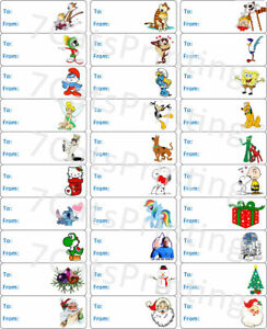 30-Christmas-Present-TO-FROM-Gift-Tags-Birthday-Stickers-Labels-Popular-Cartoons