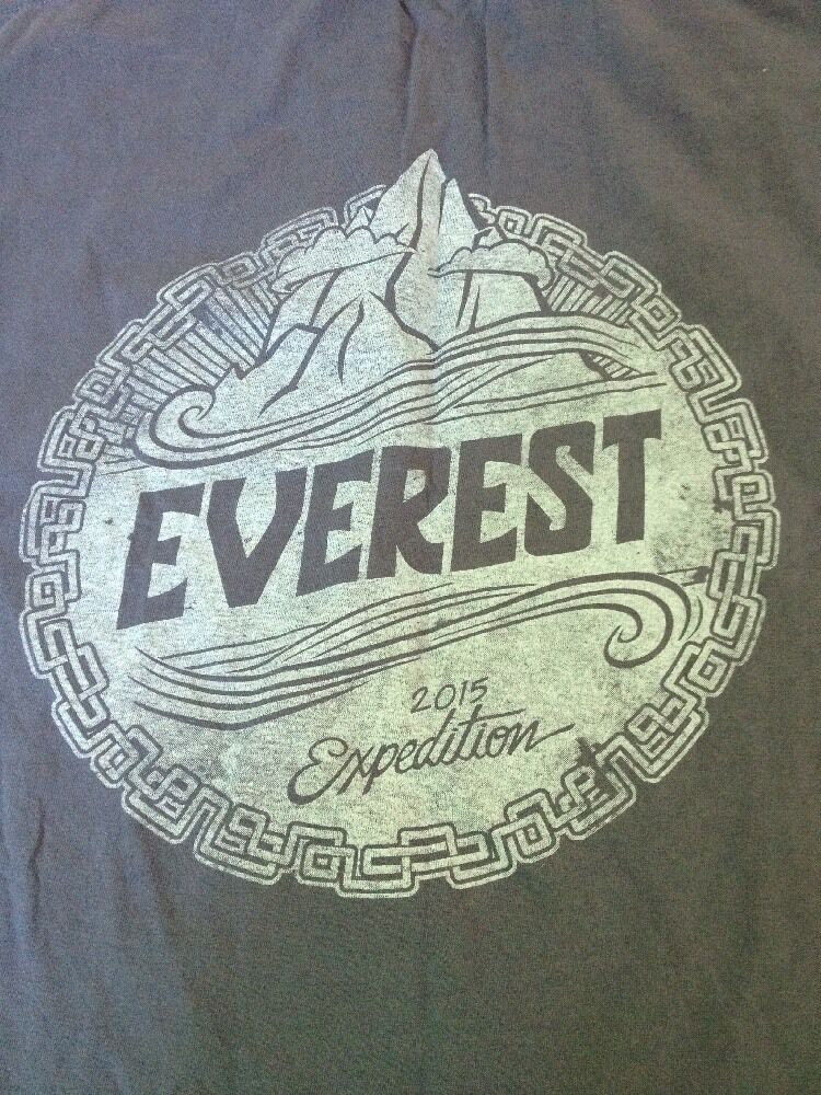 Genuine Mount Everest 2015 Expedition Climbing Crew bluee T-shirt 37