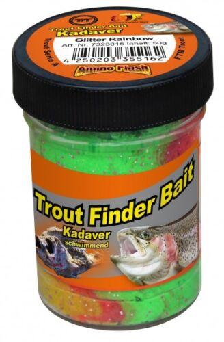 TFT FTM Trout Finder Bait Kadaver Glitter Paste 50g Rainbow Schwimmend 7323015