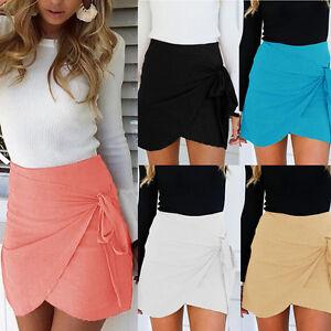Women-Summer-Bandage-Warp-Skirt-High-Waist-Irregular-Bodycon-Mini-Skirts