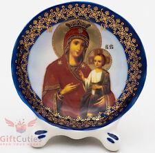 Porcelain gzhel decal plaque Icon Panagia Portaitissa Иверская ик Божией Матери
