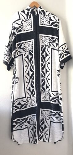 Vtg Ruth Norman Black White Zip Lounging Robe M Po