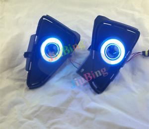 Super COB Fog Light Kit Blue Angel Eye Bumper Cover for Toyota RAV4 2016-2018