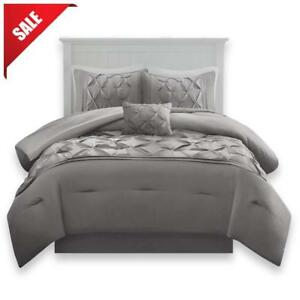 Grey King Size Bedding Sets.Details About Luxurious Comforter Set King Size Bedding Grey Bedspread Bed 5pcs