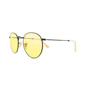 9938ab85ab Ray-Ban Sunglasses Round Metal 3447 90664A Black Yellow Photochromic ...