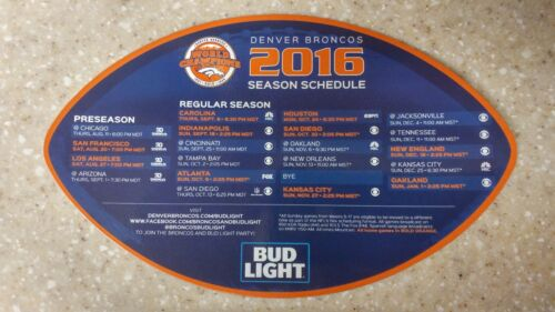 OFFICIAL 2016 DENVER BRONCOS  Refrigerator Magnetic Schedule