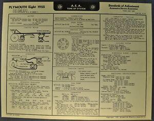 1955 Plymouth Eight Tune Up Chart Wiring Diagram Belvedere Original Not Areprint Ebay