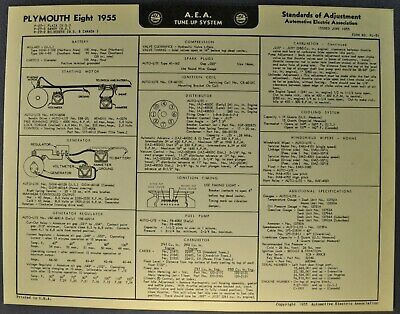 1955 Plymouth Eight Tune Up Chart Wiring Diagram Belvedere ...