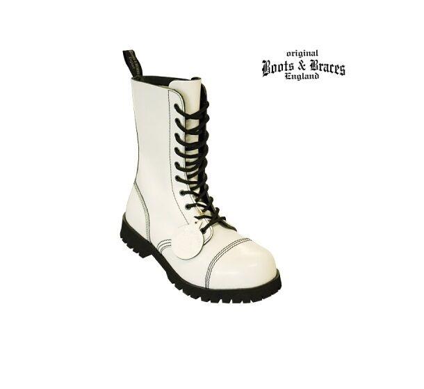 Stiefel & Braces Stiefel - 10 Loch Hot Colour Weiß Stiefel Braces Rangers Weiß e20fed