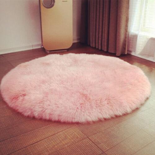Artificial Sheepskin Area Rug Dia. 40cm(15.8 inch) Shaggy Carpet Great Xmas Gift