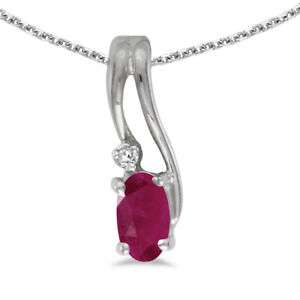 """10k White Gold Oval Ruby And Diamond Wave Pendant with 18"""" Chain"""