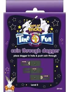 TIME-4-FUN-MAGIC-TRICKS-COIN-THROUGH-DAGGER-NOVELTIES