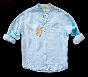 Nwt-Caribbean-Blue-Linen-amp-Rayon-Tonal-Stripe-Long-Sleeve-Mandarin-Collar-Shirt