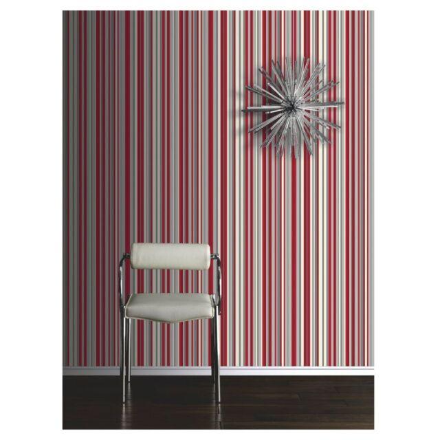 NEW Opera Sophia Stripe Wallpaper Red 10m