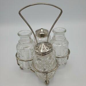 Vintage-Salt-amp-Pepper-Oil-Vinegar-Carrying-Caddy-Glass-Bottle-Condiment