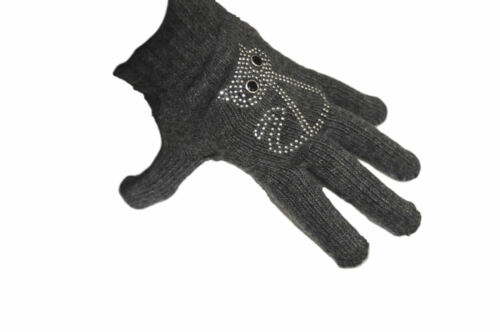 ONE SIZE ACRYLIC MIX WOOL CAT DESIGN GREY DIAMANTE ENCRUSTED GLOVES