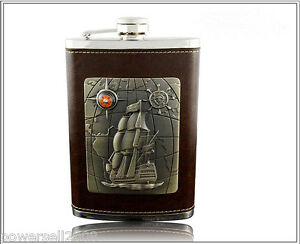 Brown-Ship-Pattern-Stainless-Steel-9OZ-Portable-Alcohol-Drink-Hip-Flagon-amp