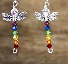11a Sterling Silver Swarovski Crystal Elements Chakra Dragonfly Earrings