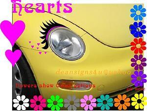 Car Eyelashes Headlight Hot Pink Eyeliner Set Hearts Vw Beetle Any