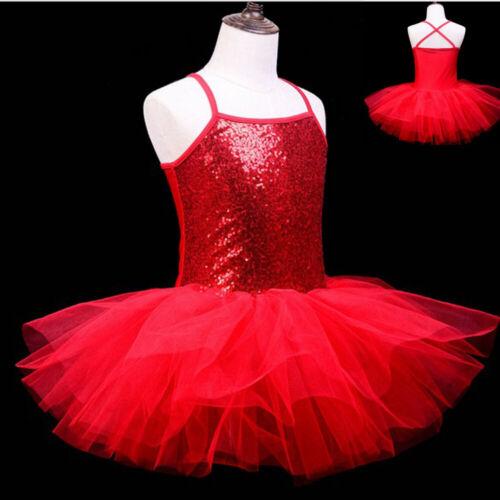 Kids Girls Ballet Dance Tutu Dress Leotard Toddler Gym Costume Dancewear 3-8 Y