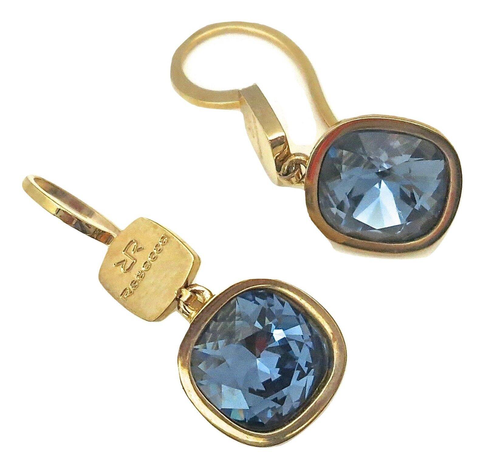 Rebecca pink gold Plated Earrings with bluee Crystals