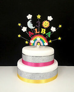 Image Is Loading Rainbow Sun Moon Star Birthday Cake Topper Personalised