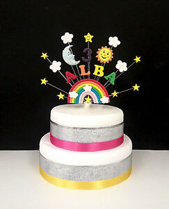 Rainbow, sun, moon, star birthday cake topper, personalised name and ...