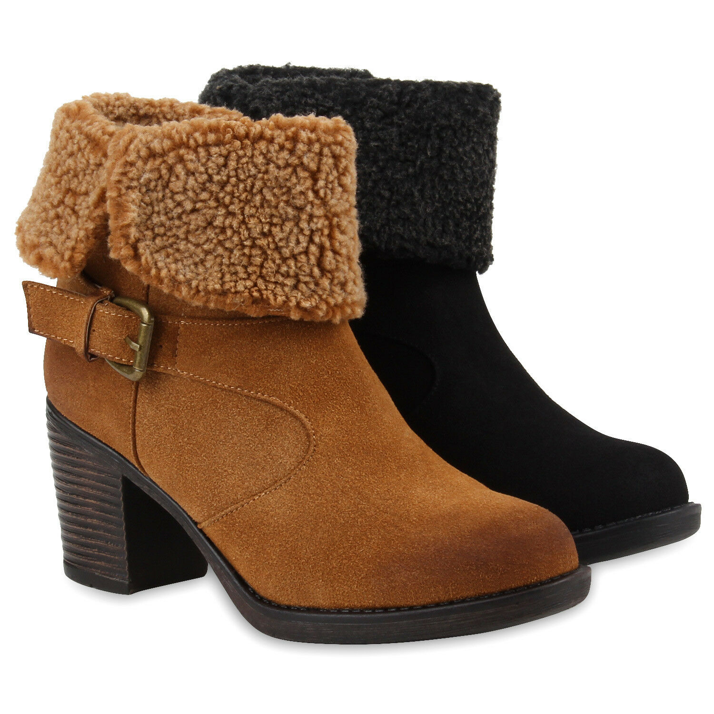 Damen Stiefeletten Teddyfell Blockabsatz Boots 77873 Schuhe